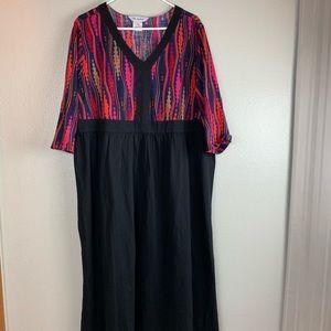 Ulla Popken Red Print Cotton Maxi Dress 16/18